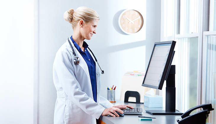 Physician viewing data on screen from Connex Cardio ECG
